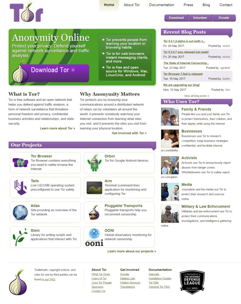 screen capture of Tor website
