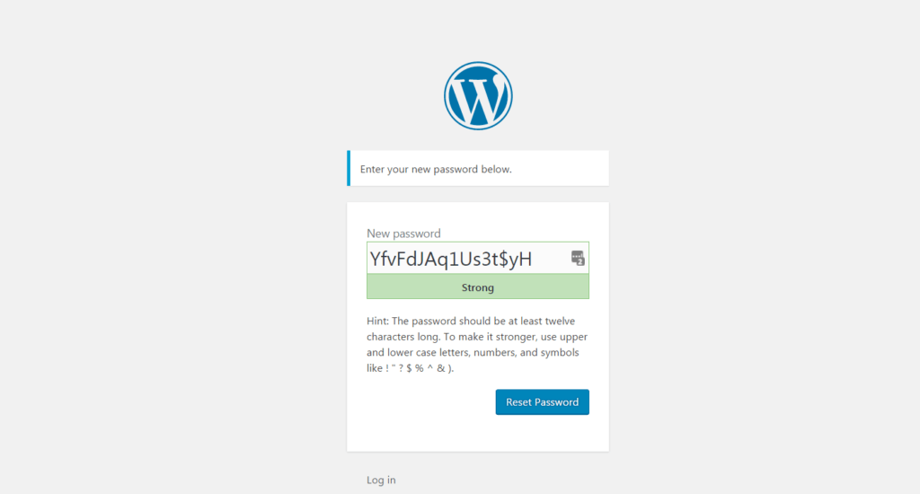 screen capture WordPress reset password